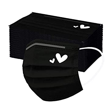 50-PCS Trendy Black Cute Heart Face Mask Pattern Printing Disposable Women Mouth Covers Protect Filter for Outdoors  White Heart