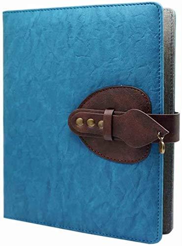 Cuaderno de piel sintética, diario de viaje, 6 anillas recargables, cuaderno de negocios vintage con bolsillo diario de viaje, carpeta de conferencias, tamaño A5, 200 páginas gruesas