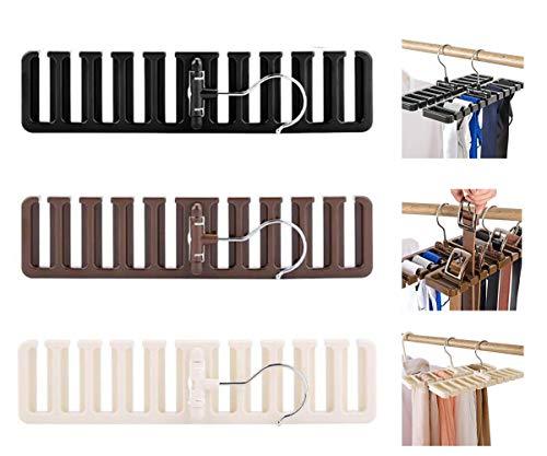 Biluer 3PCS Colgador De Cinturónes Cinturón Bufanda Rack Corbatas Organizador De Armario para De Correas Pañuelos La Mejor Opción para Su Organizador del Armario(Negro, Marrón,Blanco)