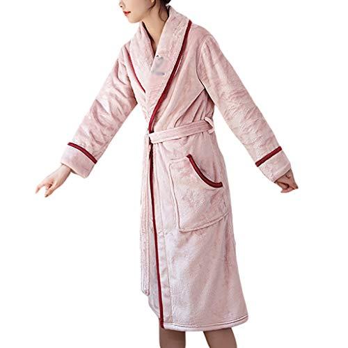 Albornoz largo para mujer con forro polar coral mullido, con bolsillos, color rosa, talla XL: