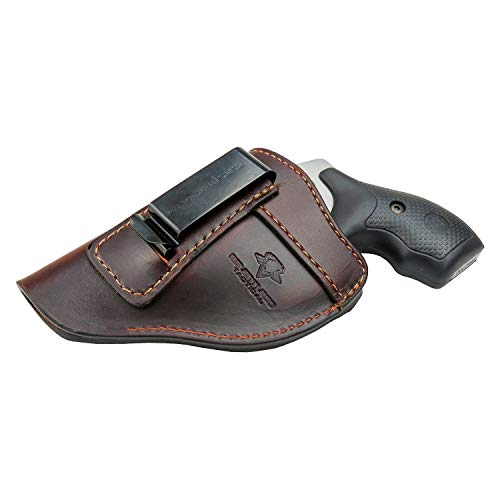 The Defender Leather IWB Holster - Fits Most J Frame Revolvers Incl. Ruger LCR, S&W 442/642, Taurus, Charter & Most .38 Special Revolvers - Made in USA - Brown - Right Handed