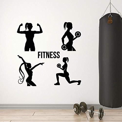 Gym Club Fitness Girls Salud Ejercicio Sport Decor Vinilos decorativos Vinilo Murales interiores Transfer Transfer Film Cut Decals A487 en AliExpress 57x57cm