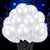 60 Pieces LED Light Up Balloons White Non Flashing Balloons Luminous Glow Latex Balloons for Party Birthday Wedding Decorations, Fillable Light up Balloons with Helium Or Air