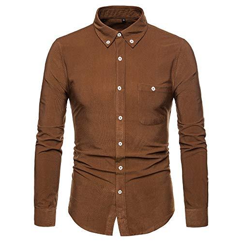 Specialofferkyz Herren-Hemd, schlichtes Hemd, langärmlig, große Größe, einfarbig, für den Alltag, Urlaub, Kleidung, Cord, Knopfleiste Gr. XL, braun