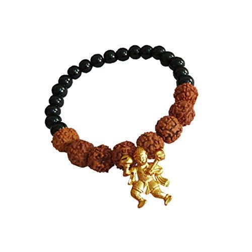 Desconocido Sataanreaper Presents Latón Marrón Y Oro Hanuman Gotea Encanto Rudraksha Pulsera para Hombres Y Mujeres #Sr-2302
