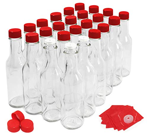 Hot Sauce Bottles with Red Caps & Shrink Bands, 5 Oz - Case of 24