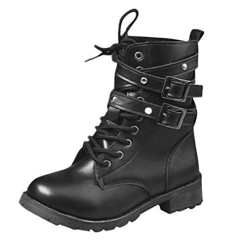 Logobeing Botas de Cuero Botas Planas para Mujer con Punta Redonda y Hebilla de Correa Zapatos de Mujer Cordones Moda Moto
