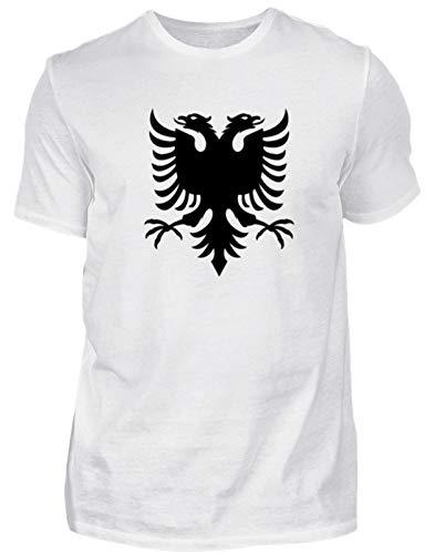 Camiseta para hombre con águila de Albania, bandera nacional de fútbol, diseño sencillo y divertido Blanco M