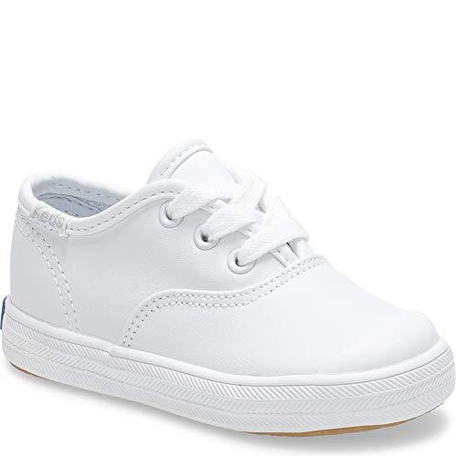 Keds girls Champion Lace Toe Cap Sneaker ,White,8 W US Toddler