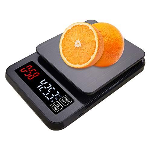 WZ Escala Café para Pesaje En Cocina con Temporizador Balanza Cocina Digital Precisión 0,1 Gramos Toque Digital para Hornear Cocinar Pantalla LED (Size : 5kg/0.1g)