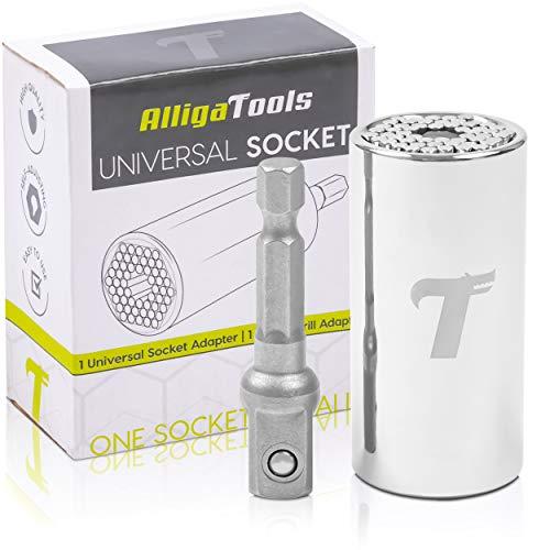 AlligaTools Universal Socket (7-19mm) | Multi-Function Wrench with Power Drill Adapter Set | Swivel Socket | Best Gift for Him, Men, DIY Handyman, Father/Dad, Husband, Boyfriend, Women