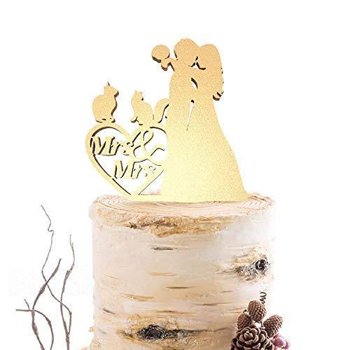 Cheyan Cake Topper voor Bruiloft Rustieke Lesbische Silhouette Mevrouw Same Sex Lesbische Grappige Bruid en Groom Bruiloft Cake Topper Geschenken
