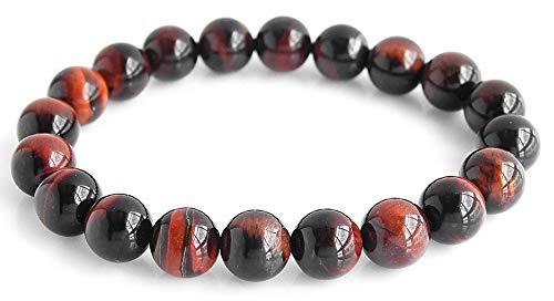 b0576-M-redtiger [ブランド名:2PIECES] パワーストーンブレスレット 天然石 数珠 10mm玉 メンズ ((M)-レッドタイガーアイ)