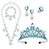 HIFOT Elsa Accesorios de Princesa, Elsa Joyeria Set Collar Corona Pulsera Pendientes Anillos Accesorios para Niñas Carnaval Halloween Fiesta Regalos