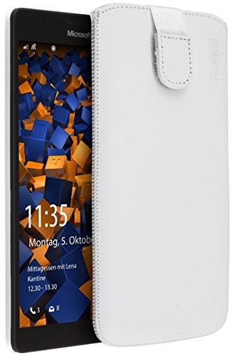 mumbi Echt Ledertasche kompatibel mit Microsoft Lumia 950 XL Hülle Leder Tasche Case Wallet, weiss
