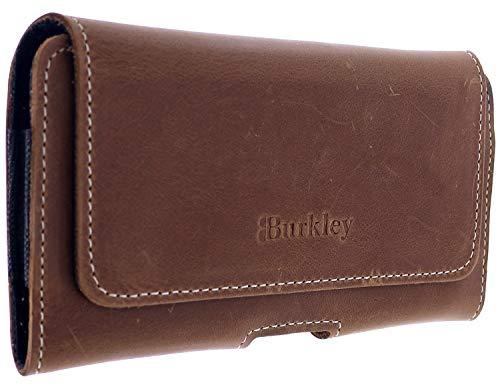 Burkley Gürteltasche für Samsung Galaxy S5 / S5 Neo Handyhülle Schutzhülle geeignet für Galaxy S5 / S5 Neo Hülle mit Gürtel-Schlaufe (Horizontal/Antik Braun)