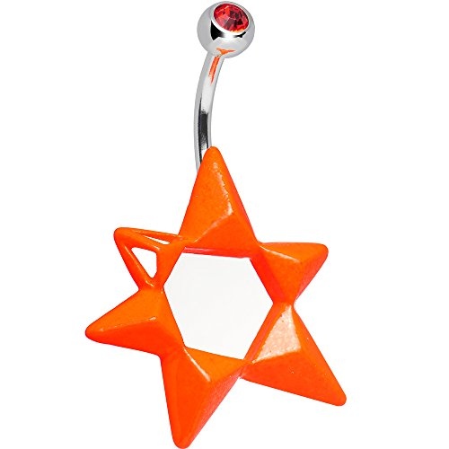 Body Candy Orange Neon Modern Star of David Belly Ring
