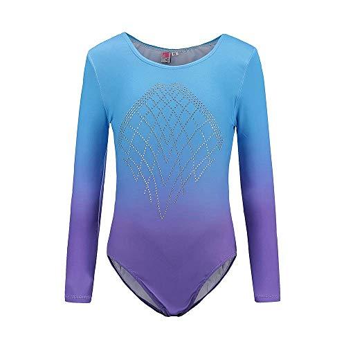 Sinoem Gymnastikanzug Mädchen Langarm Kinder Turnanzug/Ballett/Ballettröckchen Kleid Trikotanzug Tanz Kleid/Gymnastik/Training/Dancewear/Gymnastikbody für mädchen(6 (5-6Jahre), Blue+Purple)