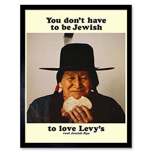 Wee Blauwe Coo Advert Voedsel Levy Roggebrood Inheemse Amerikaanse Joodse Kunst Print Ingelijste Poster Muurdecoratie 12X16 Inch