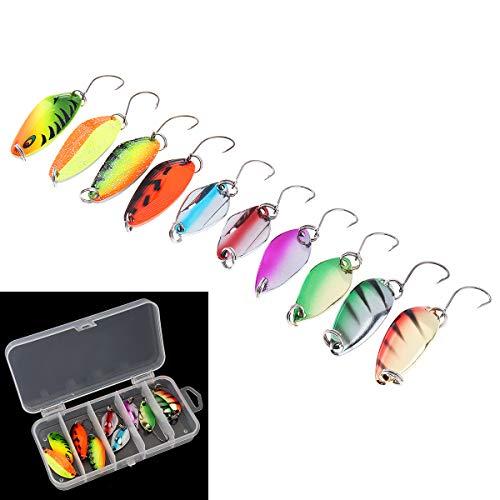 OriGlam Juego de 10 señuelos de pesca con cucharas de pesca, anzuelos de metal, cebos duros para trucha, señuelos de pesca de agua salada, cuchara, anzuelo de pesca
