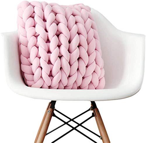 Wythe Knot Cuscino per divano con nodi intrecciati, cuscino per pallet, effetto lavorato a maglia, semplice, fatto a mano (rosa, 40 x 40 cm)