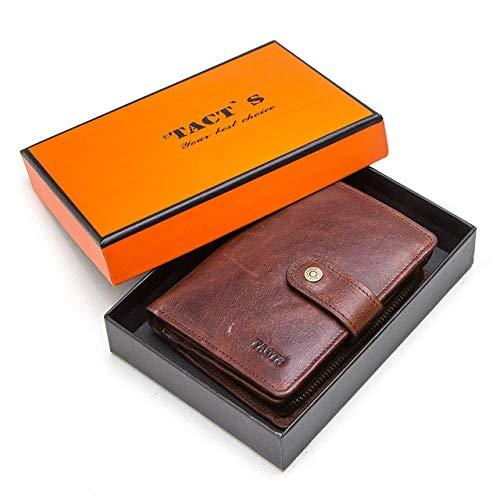 Billetera Vintage de Cuero Genuino para Hombres con Bolsillo para Monedas billeteras Cortas Billetera pequeña con Cremallera con tarjeteros Hombre Monedero-Caja marrón, a1
