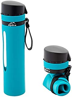 HyDra Bottle | Collapsible Portable Silicone Water Bottle with Straw | 20 oz | Leak-Proof | BPA Free & FDA Approved | Travel & Outdoor Friendly | [並行輸入品]