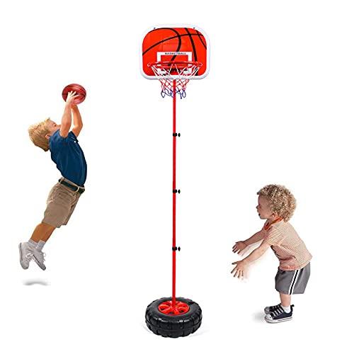 AJLDN Canasta Baloncesto para niños, Portátil 1,3 M Juego de Baloncesto con Soporte y Baloncesto Soporte de Baloncesto para niños para jóvenes en Interiores al Aire Libre,Red