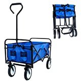 OUBLANC Wagon Cart, Collapsible Wagon Utility Wagon Beach Cart Garden Heavy Duty Hand Cart with 8' Rubber Wheels,Adjustable Handle and Double Fabric-Perfect Use for Shopping,Picnic,Beach