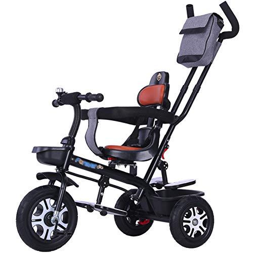 Bébé GUO@ Tricycle pour Enfants 1-3-6 Ans SièGe De Chariot De Peut êTre Pivoté Landau Poussette Confortable Et SûRe