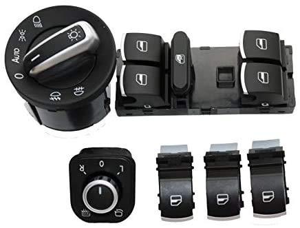 Interruptor de control de la ventana del espejo de los faros delanteros/ajuste para JEtta/ajuste para Golf/Fit para Touran/Fit para Tiguan/Fit para Passat (negro)