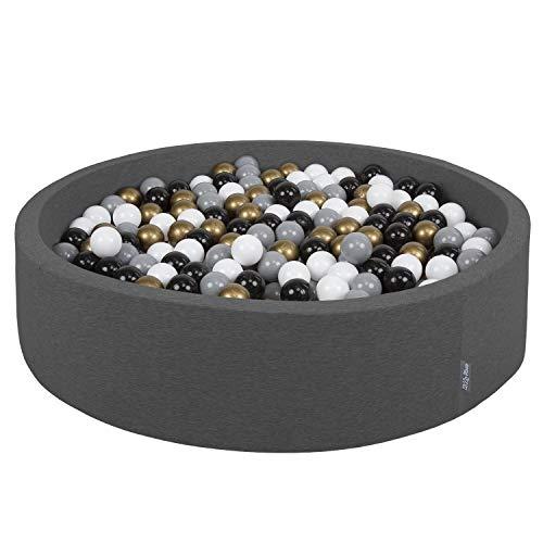 KiddyMoon Piscine À Balles 120X30cm/200 Balles Grande Rond pour Bébé, Fabriqué en UE, Gris Foncé:Blanc-Gris-Noir-Or