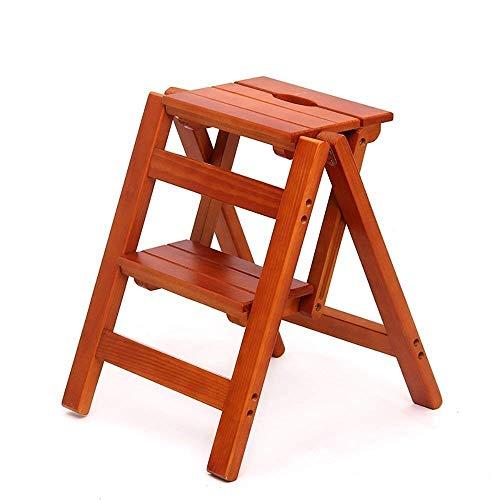 HLL Step Ladder,Solid Wood Folding Two-Step Ladder,Multifunction Indoor Ascend Chair Flower Stand Ladder,Light Walnut