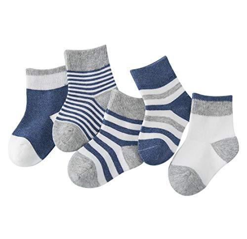 DEBAIJIA Niños Niñas Calcetines de Algodón Cómodo Deportivo Jogging Suave Elasticity Absorber el Sudor primavera verano otoño Color Azul oscuro 4-6 años (Pack de 5 Pares)