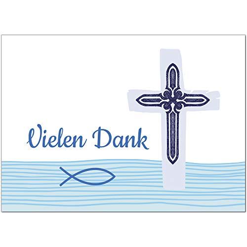 15 x Dankeskarten mit Umschlag - Fisch im Wasser mit Kreuz - Danksagung/Bedanken/Danke sagen zur Taufe, Kommunion, Konfirmation, kirchlich