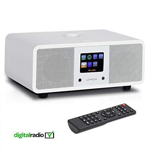 LEMEGA M3i - Stereo Internetradio, DAB/DAB+ Digitalradio, WiFi-Streaming, Bluetooth, Spotify Connect, UKW-Tuner mit RDS, USB, AUX, 2,8-Zoll-Farbdisplay,Subwoofer, 20 Watt RMS - Satinweiß