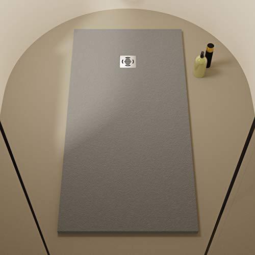Piatto doccia in resina 90 x 100 Ebro - Effetto ardesia e antiscivolo - Finitura opaca - Disponibile in tutte le dimensioni - Include sifone e griglia - Grigio RAL 7040