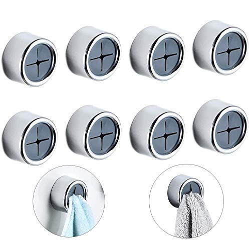 Kitchen Towel Hooks, 8 Pack Opening Dish Towel Rack Rag Hooks, Self Adhesive Wall Dish Towel Hook, Round Wall Mount Hook Tea Towel Holder for Bathroom, Kitchen and Wall, Garage, No Drilling Required