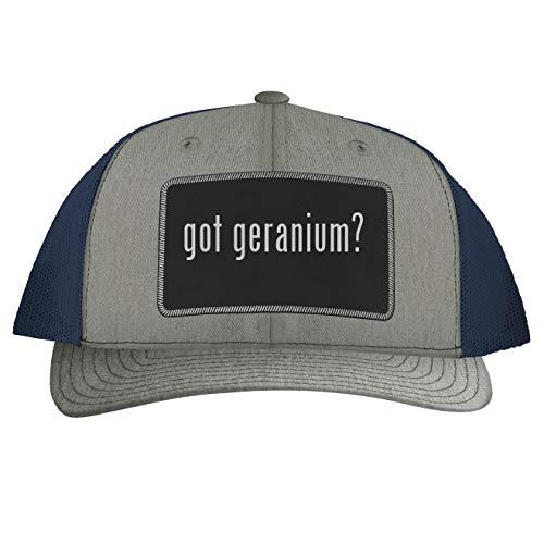 got Geranium? - Leather Black Patch Engraved Trucker Hat, Heather-Navy, One Size