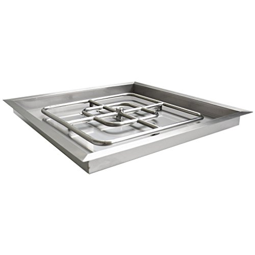 onlyfire Stainless Steel Square Fire Pit Burner with Pan, 36-inch