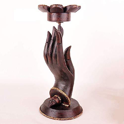 Cakunmik Kreative Bergamotte-Kerzenhalter-Ornamente aus massivem Holz,Buddha Hand Mit Lotus Kerzenhalter Buddha Hand Statue Buddhistischen Abbildung 10x25cm(4x10inch)