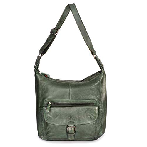 DONBOLSO® Handtasche Paris I Damenhandtasche aus Nappaleder I Vintage Umhängetasche I Schultertasche mit Schlüsselband I Grün