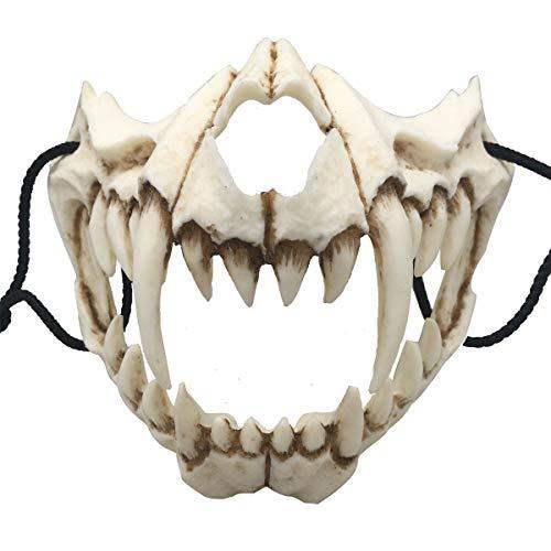 Nincee Japanische Halloween-Maske, Tiger Cosplay-Maske - Harz Halbgesicht Weißer Schädel Gruselige Maske, Dekorative Maske Kostüm Halloween Neuheit Horrormaske Rollenspiel für Erwachsene (Tiger)