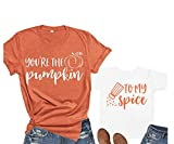 You're The Pumpkin to My Spice Mother Son Daughter T-Shirt Sets Pumpkin Mommy and Me Shirts Fall Matching Outfits (Orange, M)