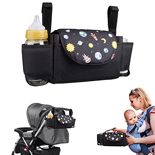 Bolsa Organizadora de Cochecitos para Mamá Bolsa de cochecito de gran capacidad con 2 portabotellas Organizador de cochecito colgante Accesorios para bebés - SVTEOKO (Cielo estrellado)