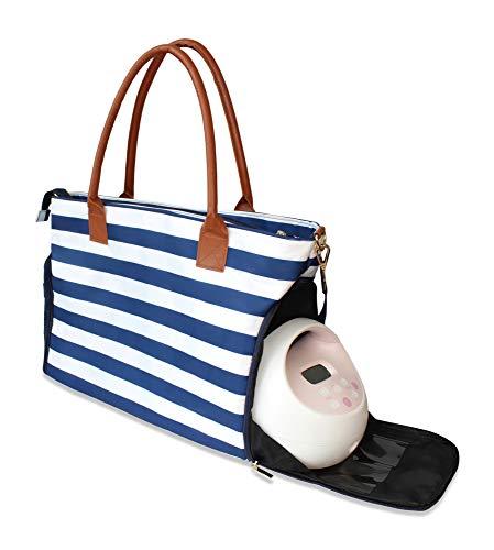 Lil Elephant Breast Pump Bag - Premium Pumping Bag for Spectra, Medela Breastpump   Stylish Tote Breastpump Bags for Moms   Breast Pump Bags and Totes (Navy & White Stripes)