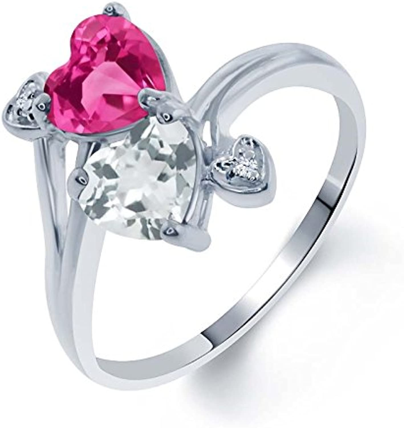 1.78 Ct Heart Shape Pink Created Sapphire Sky bluee Topaz 925 Silver Ring