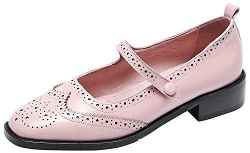 U-lite Women's Wingtip Brogues Leather Flat Oxfords Mary Jane Flats Oxford Shoes Pink 5.5