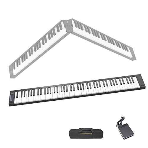 Veetop 88 Keys Foldable Electric Piano Keyboard Portable Digital Piano with Bluetooth, MIDI, Touch Sensitive Keys, Rechargeable Battery, Sustain Pedal, Piano Bag for Beginners Kids Adults