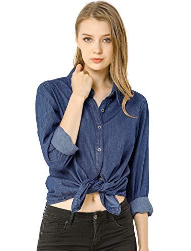 Allegra K Camisa Vaquera Manga Larga Botón Arriba Suelto Clásico para Mujer Azul Oscuro S